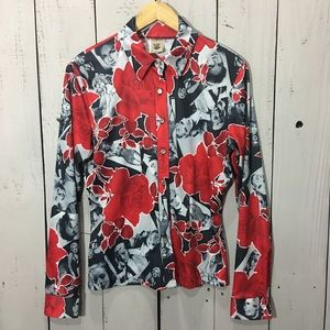 Vintage Pin Up Button Up Long Sleeve Shirt